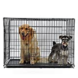 PAWZ Road Hundekäfig Hundebox mit 2 Türen Metall Tragegriff Zusammenklappbar Robuste Metalldraht Waschbar Kunststoffschale für große Hunde Haustiere Schwarz 2XL 122 * 77 * 82cm