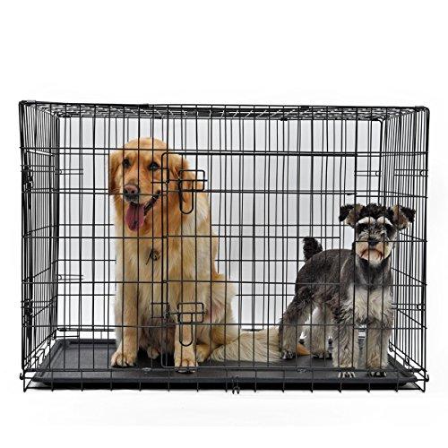 Hundebox PAWZ Road Hundekäfig mit 2 Türen Metall Tragegriff Zusammenklappbar Robuste Metalldraht Waschbar Kunststoffschale für große Hunde Haustiere Schwarz 2XL 82*77*122cm