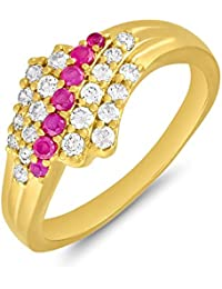 Valentine Gifts - Mahi Gold Plated Yearning Love Finger Ring With Ruby For Women FR1100641G
