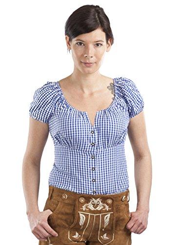 Trachtenbluse Amanda - Elegante Bluse - Trachten Carmenbluse Kariert (38, Blau/Weiss)