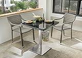 Destiny Gartenmöbel Set Sessel Triest Grey Geflechtsessel Polyrattan und Gartentisch 70 x 70 Edelstahl