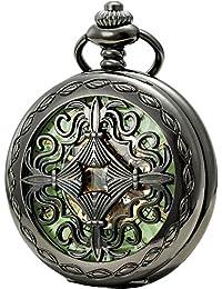 SEWOR reloj para hombre clásica Hollow flor negro caso esqueleto Dial luminoso reloj de bolsillo mecánico mano viento