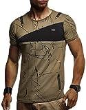 LEIF NELSON Herren Männer T-Shirt Hoodie Sweatshirt Crew Neck Rundhals Ausschnitt Kurzarm Longsleeve modern Basic Shirt Vintage Baumwolle-Anteil LN920; Größe L, Khaki