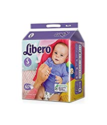 Libero small Size Open Diapers( 60 Counts Per Pack)