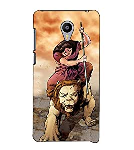 Fuson Designer Back Case Cover for Meizu M3 Note :: Meizu Note 3 (A lady riding lion )
