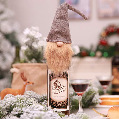 nhülle mit Deckel für Weinflaschen, niedliche Puppe ohne Gesicht, für Weihnachten, Urlaub, Partys, Dekoration grau ()