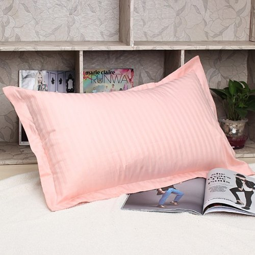 Soft Cotton Pillow Case Pure Stripe Cushion Covers Bed 45cmX75cm-Random color