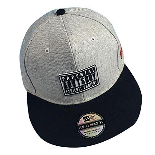 MissFox Damen Verstellbar Snapback Caps Embroidered Flat Baseball Kappe Licht Grau Weiß