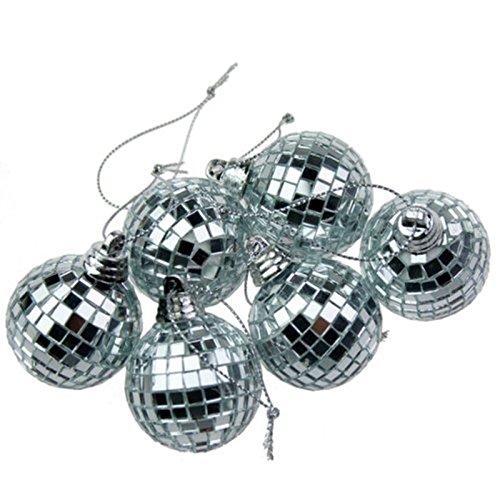 Set von 6 Silber Mini Disco-Spiegel-Ball-Weihnachtsbaum Dekorative Christbaumkugel
