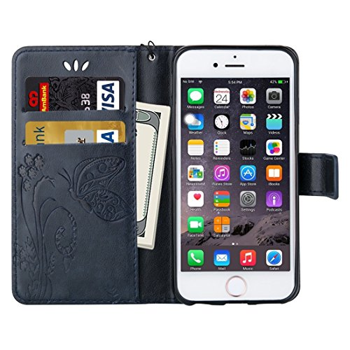 Wkae Case Cover Für iPhone 6 &6s Crazy Horse Texture Druck Horizontal-Schlag-Leder-Kasten mit Halter &Card Slots &Wallet &Lanyard ( Color : White ) Dark Blue