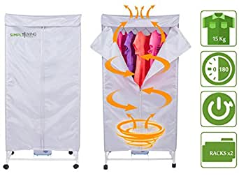 Compact 15KG Electric Portable Clothing Dryer - Quiet & Powerful Clothes Dryer - Dries Clothes in 30 Minutes