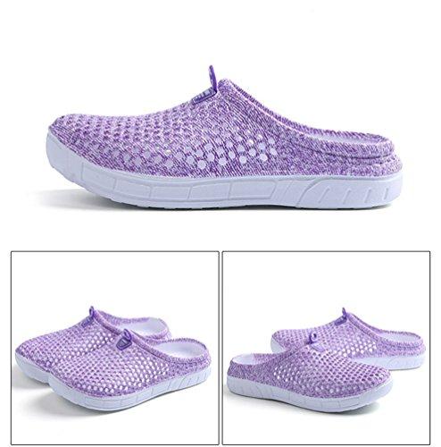 YOUJIA Unisex Sommer Casual Atmungsaktiv Clogs Strand Geschlossene Zehe Hausschuhe Pantoffeln Slippers #2 Violett A4irlumXcC