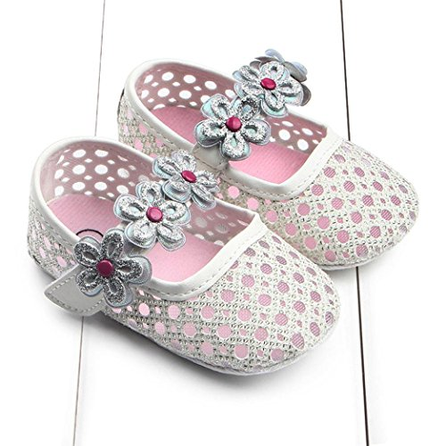 Clode® Bambin fille douce seule crèche chaussures Sneaker chaussures de bébé (0~6 Mois, Rose) Argent