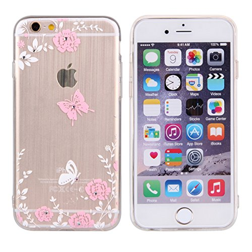 Durchsichtig Huelle für iPhone 5S, Felfy luxus Ultra Slim Bling Shiny Sparkle Diamant Dünnen Apple iPhone 5S 5 Cool Love Heart Muster Weiche Flexible Gel TPU Handy Tasche Back Case Cover Protective Zu Rosa Muster #6