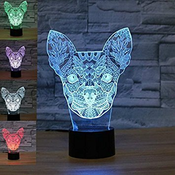 3d chihuahua hund nachtlicht illusion lampe 7 farbe ändern, führte an usb - tabelle geschenk kinder spielzeug dekor und weihnachten zum valentinstag - (Kit Dekoration Baseball)