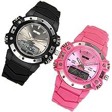 JewelryWe 2pcs Relojes para Niños Niñas Analógico Reloj Deportivo Digital para Aire Libre, Reloj Infantil