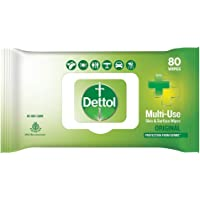 Dettol Disinfectant Skin & Surface Sanitizing Wipes, Original – 80 Count  Safe on Skin  Ideal to Clean Multiple Surfaces…