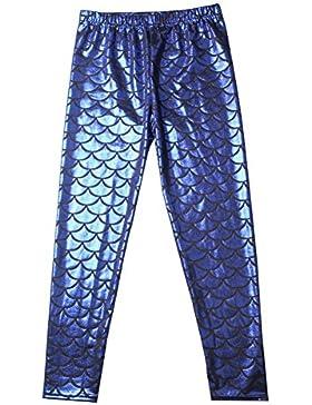 Pantalones elásticos largos Pantalones hibote Bebé niños Niños Chica Pez Escama Leotardos flacos