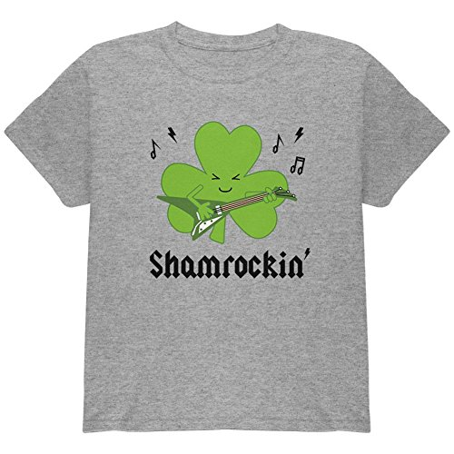 St. Patrick ES Day Shamrock Guitar Shamrockin' Jugend T-Shirt Heather Youth X-SM (T-shirt Youth Patricks Day)