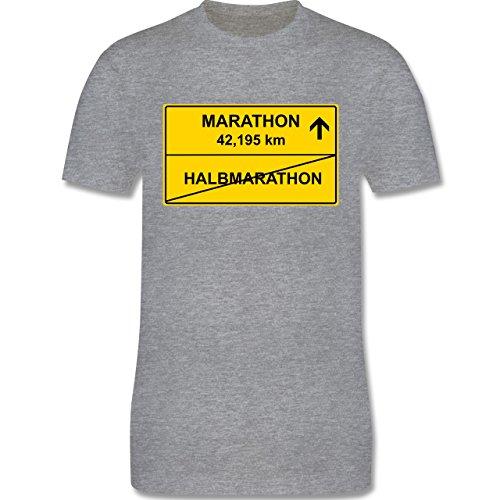 Laufsport - Marathon - Herren Premium T-Shirt Grau Meliert