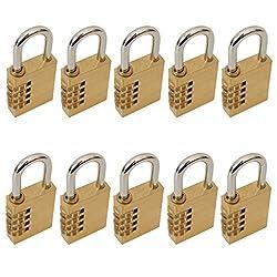 Kurtzy 2 X 4 Messingschlösser rücksetzbare Kombination 3 cm Schäkel aus gehärtetem Stahl und 10000 Kombinationsmöglichkeiten Sowie Kostenloser Anleitung - perfekt für Garagen, Schuppen, Das