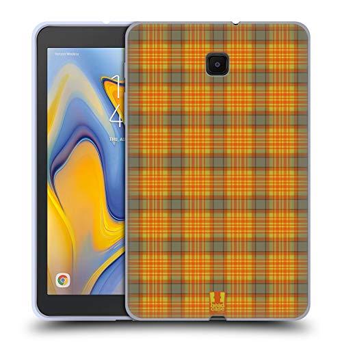 Orange Plaid-taste (Head Case Designs Grün Orange Plaid - Muster Kollektion Soft Gel Huelle kompatibel mit Galaxy Tab A 8.0 (2018))