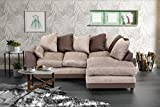 Abakus Direct Dylan Byron Corner Group Sofa Brown and Beige Right or Left (Corner Right)