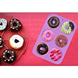 JoyGlobal Silicone 6 Cavity Donut Shaped Muffin Cups Cake Baking Ring All Purpose Mold (Output Weight Approx : 110-120 Grams)