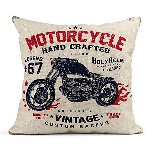 vikkk Dekokissenbezug Print Motor Motorrad Helm Teil Badge Bike Kissenbezug einseitig Design Home Sofa Decor45x45 cm -