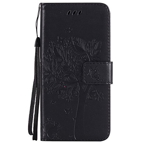 Nancen Wallet Case Tasche Hülle für Apple iPhone 5C (4 Zoll) Flip Schutzhülle Zubehör Lederhülle mit Silikon Back Cover PU Leder Handytasche im Bookstyle Stand Funktion , Schmetterling Schnalle Magnet Baum und Katze-5