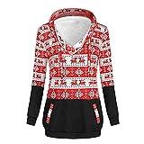 GreatestPAK Frohe Weihnachten, Pullover Damen Pulli Gestreifte Hoodies mit V-Ausschnitt Xmas Jumper Tops, rot,L