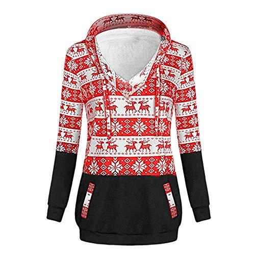 VEMOW Heißer Damen Frauen Pullover Weihnachtsdruck Mit Reißverschluss Lässige Tägliche Freizeit Im Freien Pullover Mit Kapuze Sweatshirt Tops Herbst Winter(X2-Rot, EU-38/CN-XL)