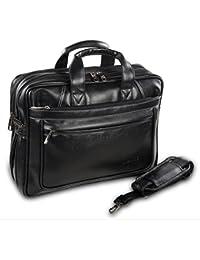 Wolfic Black Synthetic Leather 100% Vegan Laptop Messenger Bag
