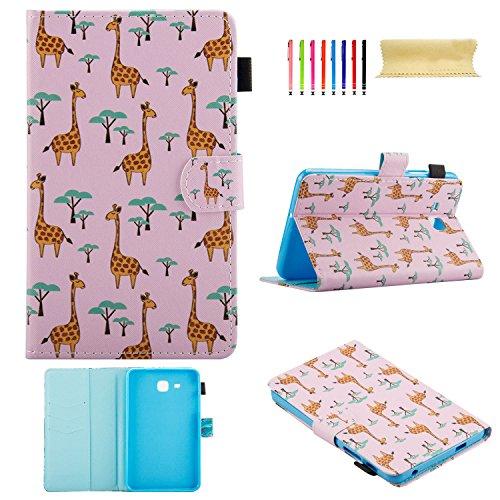 Uliking Schutzhülle für Samsung Galaxy Tab A 7.0 SM-T280 SM-T285 Tablet, Smart Stand Folio aus Kunstleder mit Kartenfächern und Stifthalter [Auto Wake/Sleep] rosa 01# Pink Deer