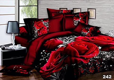 3D 4 PIECES COMPLETE BEDDING SET INCLUDES 1 DUVET COVER QUILT COVER 1 FITTED SHEET 2 OXFORD STANDARD PILLOW CASES DESIGN RED ROSES MATERIAL 100% POLYESTER FEEL JUST LIKE SOFT COTTON SIZES AVAILABLE SINGLE DOUBLE KING (King,