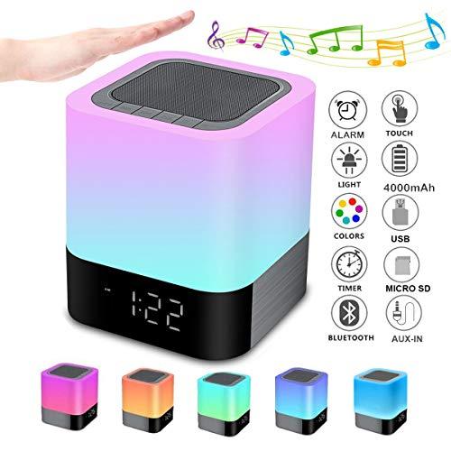 Bluetooth Lautsprecher mit Touch-Nachttischlampe Wecker Nachtlicht RGB-Farbwechsel LED Drahtloser tragbarer Lautsprecher Stimmungslicht Schlafzimmer Tischlampe Geschenk für Frauen Kinder Mädchen Teen