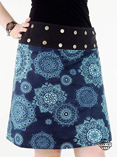 pacap - Falda de algodón con Cartera, diseño de Mandala, Color Azul Abstracto Azul XXXXX-Small