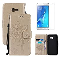 for Samsung Galaxy A5 2016 A510 Wallet Case and Screen Protector ,OYIME [Gold Cute Cat and Butterfly Tree] Design Leather Kickstand Magnetic Holster with Card Holder Full Body Protective Flip Cover