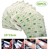 wordmo 50pcs Waterproof Plaster Transparent Adhesive 15cmX15cm Medical Wound Dressing Tape Fixer Plaster Stretch Fixation Tape Tattoo Aftercare Bandage Anti-Allergic self-Paste