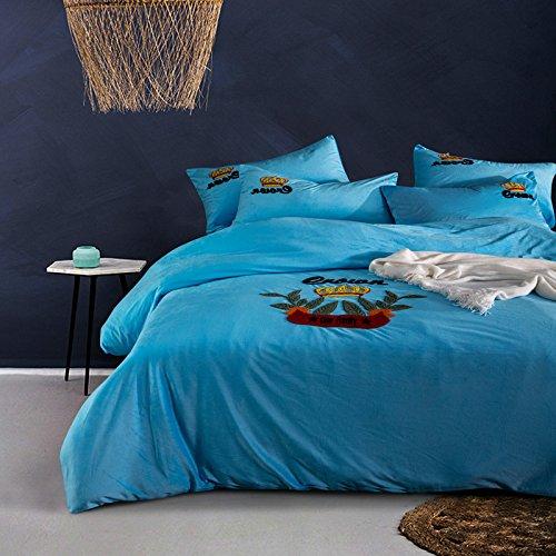 Ein Satz von vier crystal Coral samt Wildleder Betten. 1,8 m Kaschmir Bettwäsche Steppdecke Handtuch stickerei Bettwäsche vier Stück, Schön - Blau, 1,5 m (5 Fuß) Bett (Blau-bett-satz)
