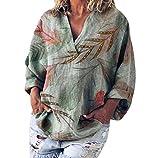TUDUZ Ahornblatt Druck Oberteil Damen Sommer Elegante Langarmshirts Damen Blusen Baumwolle und Leinen Tunika Frühling T-Shirt V-Ausschnitt Tops(X-Large,A-Grün)