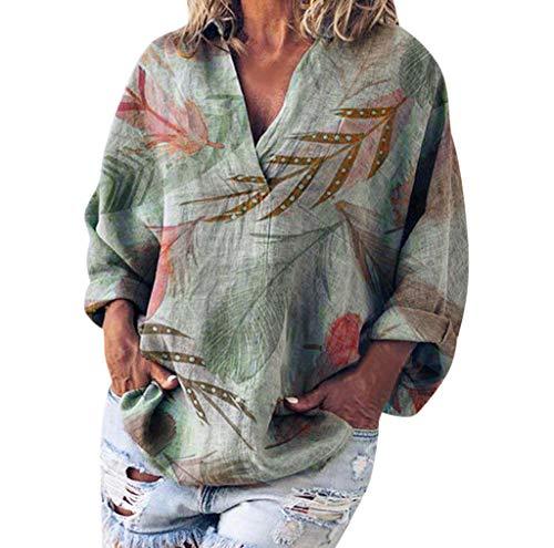 Fghyh Damen Sweatshirt Langarm ShirtFrauen Lose V-ausschnitt Blätter Drucken Grundlegende Langarm Leinen T-shirt Top Bluse(S, Grün)