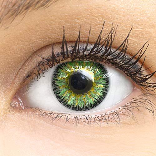 Grüne Premium Kontaktlinsen Glamour Green 14mm Farbige Meralens Linsen Ohne Stärke Grün + Kontaktlinsenbehälter, weiche 3-Monatslinsen im 2er Pack
