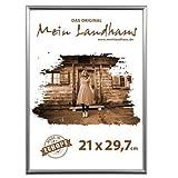 Mein Landhaus Bilderrahmen, Kunstoff Silber 21x29,7cm (Din A4) Urkunde, Zeugnis (3 Stk.)