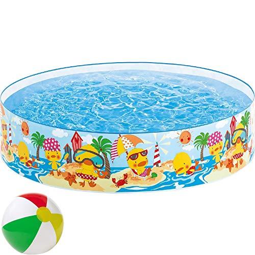 Aufstellpool Snap Set Quick-Up Babypool Pool Ente Planschbecken Kinderpool Kinderplanschbecken Schwimmbecken Rund für Baby-s Kind-er Terrasse Balkon Garten Größe ca. 122 x 25 cm