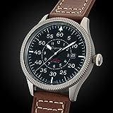 Gigandet Automatik Herren-Armbanduhr Red Baron I Fliegeruhr Uhr Datum Analog Lederarmband Braun Schwarz G8-001 - 3