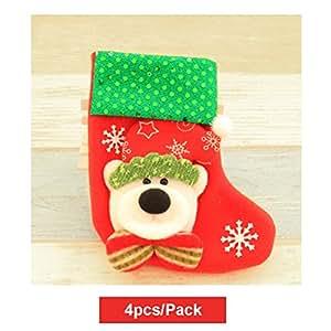 KRY Set di 4calze calze di Natale Hanging regalo tessuto bellezza Mini calze alberi di Natale decorazione pupazzo di neve, Babbo Natale Decorazioni di Natale calze, Bear Pattern, 16*9*12cm