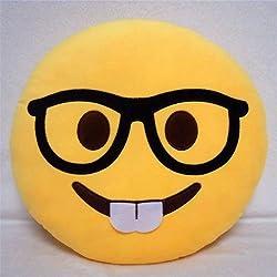 Desire Deluxe Cojín Emoticono Cara Empollón Sonriente - Almohada o Peluche Emoji Cariñoso en Forma de Emoticon Cara Empollón 100% de Satisfacción o Devolución del Dinero.