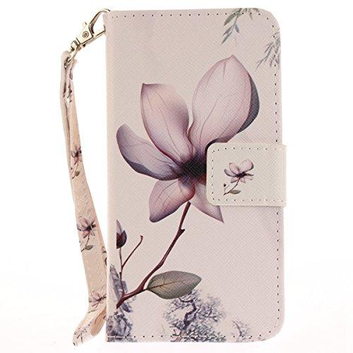 Coque iPhone 7, iPhone 8 Coque Portefeuille, SainCat Ultra Slim Flip Cover pour iPhone 7/8, Anti-Scratch Bookstyle Etui en PU Cuir Coque Etui Cuir Cover Coque Cuir Coque Caoutchouc Étui Portefeuille C Fleur de Magnolia