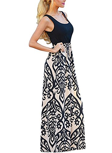 Scoop Neck Empire-top (Outgobuy Womens Casual Scoop Neck Sommer Boho Langes Maxi Kleid (XL, Schwarz))